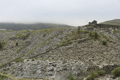 Slate Spoil Heaps on a Murky Day, North Wales Royalty Free Stock Photos