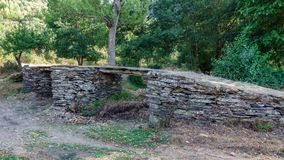Slate and stone bridge over dry river Stock Photography