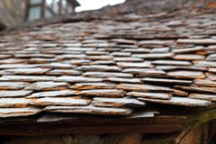 Slate stone roof tiles perspective selective focus Royalty Free Stock Images
