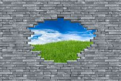 Slate stone wall hole breakout concept Royalty Free Stock Photo