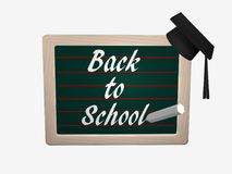 Slateboard with the text Back to School. Where a high school hat hangs. 3d rendering isolated on white Royalty Free Stock Image