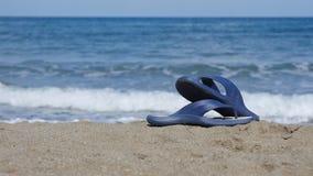 Slates lie on the sand on the beach Stock Image