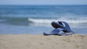 Slates lie on the sand on the beach Royalty Free Stock Photo