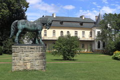 Slatinany Chateau. With horse statue Stock Photos