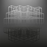 Slatted frame made of dice in prospects. The background of the screen objects. Stock Photo