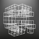 Slatted frame made of dice in prospects. The background of the screen objects. Stock Image