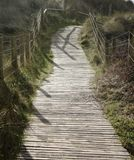 A wooden slatted walkway over the dunes. A slatted wooden walkway with handrails over the dunes in the sunlight.  South coast beach in the UK Stock Images