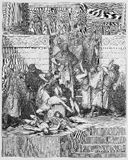 Slaughter of the sons of Zedekiah. Before their father - Picture from The Holy Scriptures, Old and New Testaments books collection published in 1885, Stuttgart Stock Photos