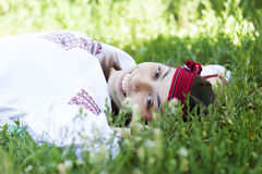 Slav girl at green meadow. Royalty Free Stock Photos