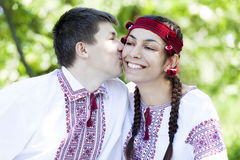 Slav girl and young cossack at nature. Royalty Free Stock Photography