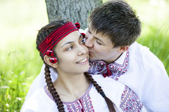 Slav girl and young cossack at nature. Stock Images