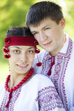 Slav girl and young cossack at nature. Stock Photography