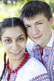 Slav girl and young cossack at nature. Stock Photos