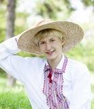 Slav teen at green meadow Royalty Free Stock Photos