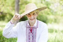 Slav teen at green meadow Royalty Free Stock Images