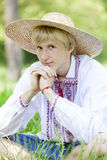 Slav teen at green meadow Stock Images