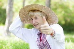 Slav teen at green meadow Royalty Free Stock Image