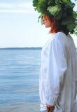 Slav woman. In the river Stock Photo