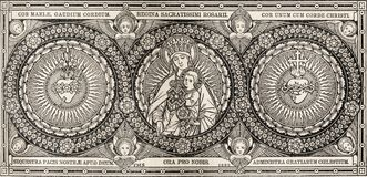 SLAVA, ΣΛΟΒΑΚΊΑ, ΝΟΈΜΒΡΙΟΣ - 21, 2016: Η λιθογραφία Madonna και heards του Ιησού και της Mary Στοκ εικόνα με δικαίωμα ελεύθερης χρήσης