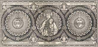 SLAVA, ESLOVAQUIA, NOVIEMBRE - 21, 2016: La litografía de Madonna y heards de Jesús y de Maria Imagen de archivo libre de regalías