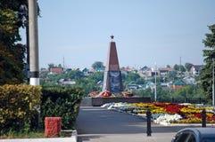 Slava-` s Monument zu den Soldaten, die in den lokalen Kriegen gestorben sind Stadt von Sysran Samararegion Russland stockfotografie