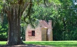 Slave cabins in Boone Hall Plantation. CHARLESTON SOUTH CAROLINA JUNE 28 2016: Slave cabins in Boone Hall Plantation in Mount Pleasant, the slave houses are stock image