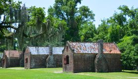 Slave cabins in Boone Hall Plantation. CHARLESTON SOUTH CAROLINA JUNE 28 2016: Slave cabins in Boone Hall Plantation in Mount Pleasant, the slave houses are stock photo