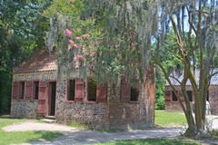 Slave cabins. CHARLESTON SOUTH CAROLINA JUNE 28 2016: Slave cabins in Boone Hall Plantation in Mount Pleasant, the slave houses are insightful, and the Gullah royalty free stock photography