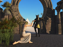 Slave greets Anubis on his return from the desert royalty free illustration