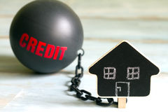 Slave housing loan concept with credit iron ball and house symbol Royalty Free Stock Photography