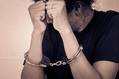 Slave,Human Trafficking concept. Hand in handcuff Royalty Free Stock Photo