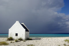 Slave Hut. Hut lived in by slaves when they were working in the salt industry in Bonaire Stock Photo
