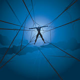 Slave man and spiders web vector illustration