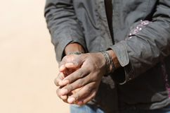 Slave Symbol - African Black Man with Hands Rope Royalty Free Stock Photos