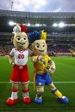 Slavek en Slavko, de Euro 2012 mascottes van UEFA Royalty-vrije Stock Foto