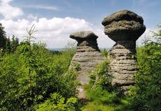 Slavenske mushrooms - rock formation in Broumovske steny mountains Royalty Free Stock Images
