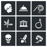 Slavery icons set. Vector Illustration. Royalty Free Stock Photos