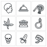 Slavery icons set. Vector Illustration. Royalty Free Stock Image
