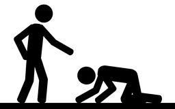 The slavery. Vector , illustration. A man kneel in front of another man Stock Image
