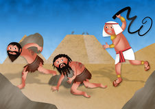 Slaves in Egypt - Jewish Passover Cartoon. A cartoon illustration depicting the Jews in Egypt being made to work for the Egyptians in cruel service. This Royalty Free Stock Photography
