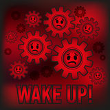 Slaves obey system. Wake UP! Vector illustration Royalty Free Stock Photos