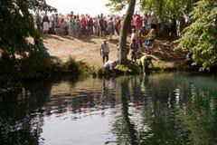 SLAVGOROD, BELARUS - AUGUST 16: The Blue Krynica. mass pilgrimage for healing to Honey Spas August 16, 2013 in Slavgorod, Belarus.  Stock Photos