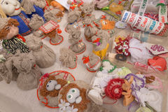 SLAVGOROD, BELARUS - AUGUST 14: Fair exhibition of handicrafts. Products from flax. embroidery August 14, 2016 in Slavgorod, Belar Royalty Free Stock Image