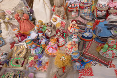 SLAVGOROD, BELARUS - AUGUST 14: Fair exhibition of handicrafts. Products from flax. embroidery August 14, 2016 in Slavgorod, Belar Stock Photos