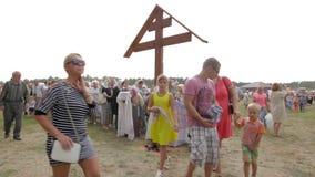 SLAVGOROD, BELARUS - AUGUST 14: mass pilgrimage for healing People worship the holy icon August 14, 2016 in Slavgorod, Belarus . stock video