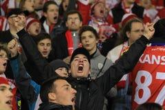 Slavia Prag Hockeygebläse Stockfotografie