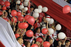 Slavia Prague fans with balloons Stock Images