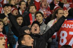 Slavia Prague hockey fans Stock Photography