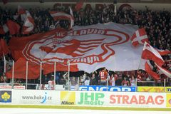 Slavia Prague hockey supporters Royalty Free Stock Image