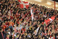 Slavia Prague ice hockey supporters Royalty Free Stock Photos